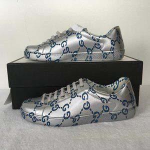 NEW GUCCI Men's  ACE GG Ghost Silver Coated DM56